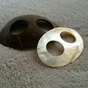 Hair Bun Cap Holder - Wood & Mother of Pearl